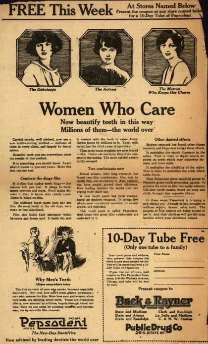 Pepsodent Company's tooth paste – Women Who Care (1922)
