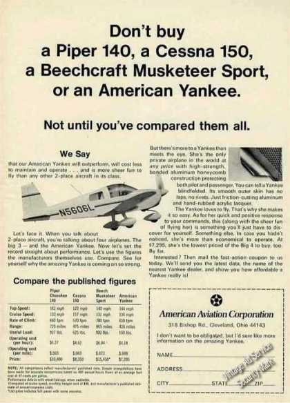American Yankee Comparative Statistics Airplane (1970)