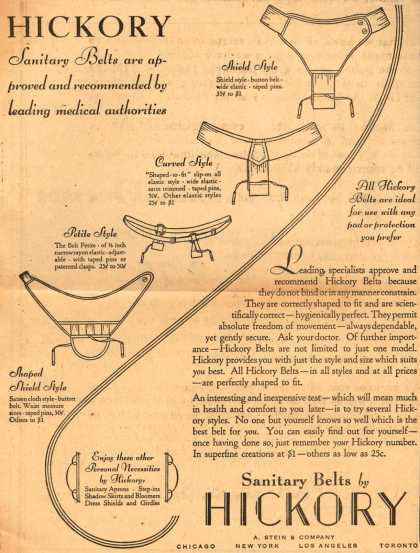 A. Stein & Company's Hickory Sanitary Belts – Hickory Sanitary Belts are approved and recommended by leading medical authorities (1930)