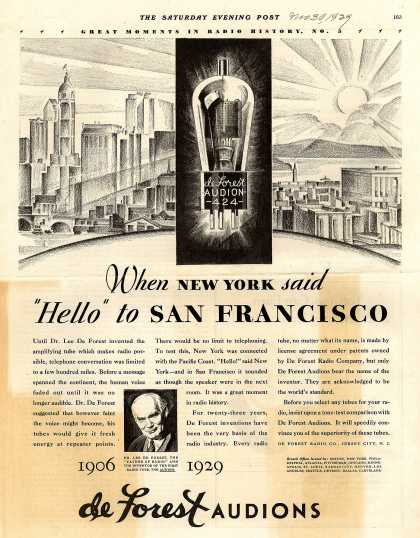 "De Forest Radio Company's Radio Tubes – When New York said ""Hello"" to San Francisco (1929)"
