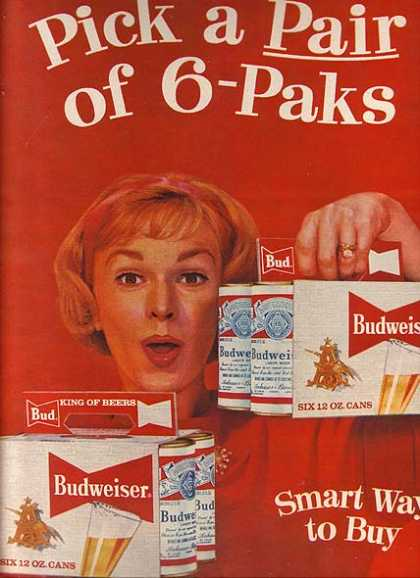 Six-Packs of Budweiser in cans (1959)