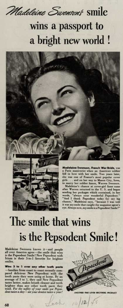 Lever Brothers Company's Pepsodent Tooth Paste – Madeline Swenson's smile wins a passport to a bright new world (1948)