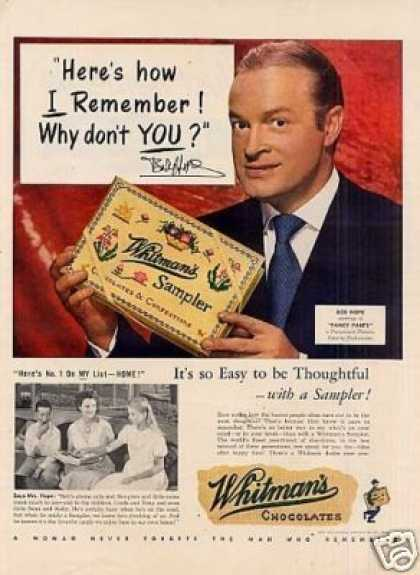 Whitman's Chocolate Candy Ad Bob Hope (1950)
