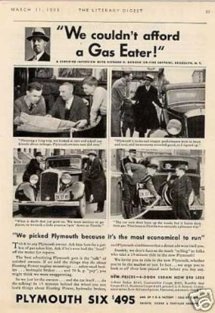 "Plymouth Six Car Ad ""We Couldn't Afford a Gas... (1933)"