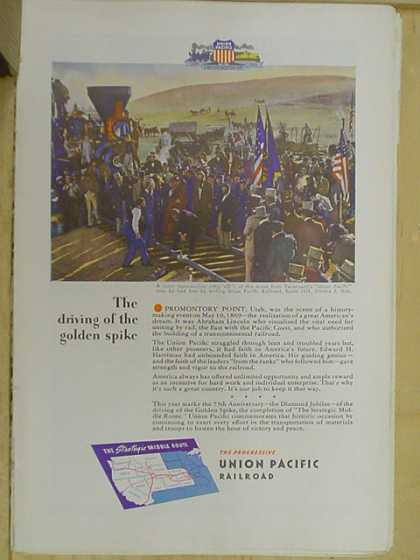 Union Pacific Railroad. The driving of the golden spike (1941)