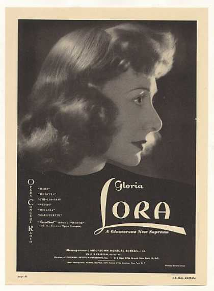 Opera Soprano Gloria Lora Photo (1948)