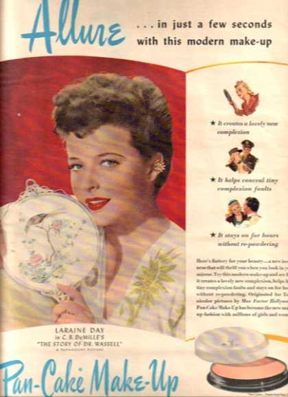 Max Factor Hollywood Pan-Cake Make-Up &#8211; Laraine Day (1944)