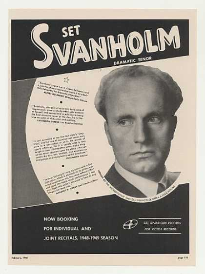 Dramatic Tenor Set Svanholm Photo Booking (1948)