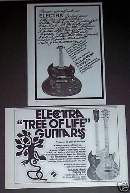 Electra Tree of Life Guitars 2 Original Print Ads (1975)