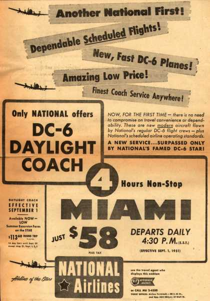 National Airline's Miami – ANOTHER NATIONAL FIRST (1951)