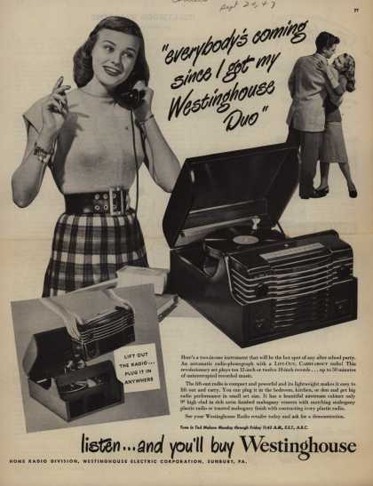 "Westinghouse Electric Corporation's Radio Phonograph – ""everybody's coming since I got my Westinghouse Duo"" (1947)"