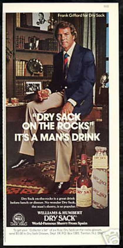 Frank Gifford Photo Dry Sack Sherry Vintage (1975)