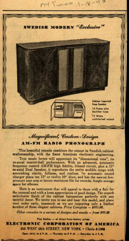 "Electronic Corporation of America's Radio – Swedish Modern ""Exclusive"" (1948)"