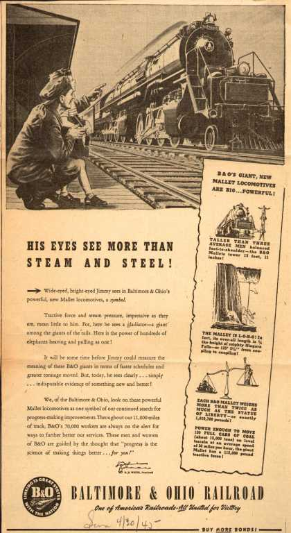 Baltimore & Ohio Railroad – His Eyes See More than Steam and Steel (1945)