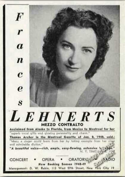 Frances Lehnerts Photo Contralto Opera (1948)