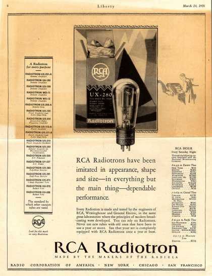 Radio Corporation of America's Radio Tubes – RCA Radiotrons have been imitated in appearance, shape and size – in everything but the main thing – dependable performance. (1928)