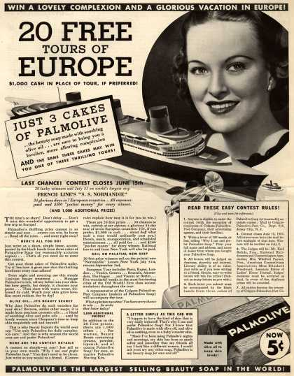 Palmolive Company's Palmolive Soap – Win A Lovely Complexion And A Glorious Vacation In Europe. 20 Free Tours Of Europe. $1,000 Cash In Place Of Tour, If Preferred (1935)