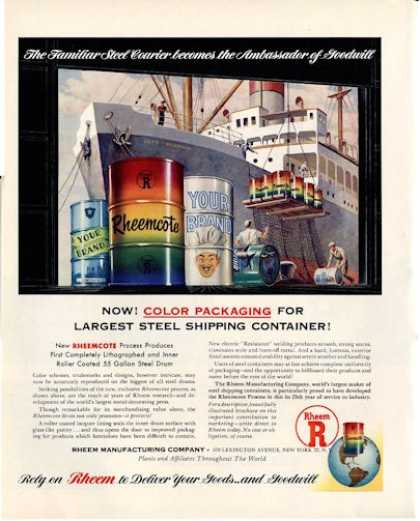 Rheem Manufacturing Color Ship Container (1950)