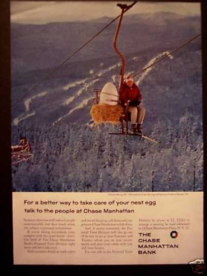 Nest Egg On Ski Lift Chase Manhattan Bank Photo (1962)
