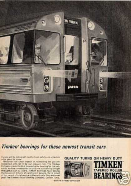 Timken 2 Page Ad New York City Path Cars (1966)