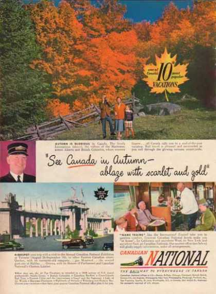 Canadian National Railway – 10 Most Popular Vacations (1949)