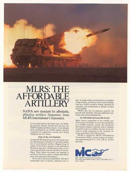 MIC MLRS Multiple Launch Rocket System Photo (1987)
