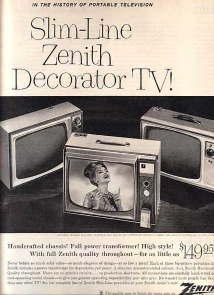 Zenith's Slim-Line Decorator TV's (1963)