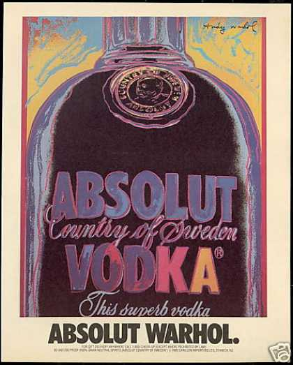 Absolut Andy Warhol Vodka Bottle Art (1986)