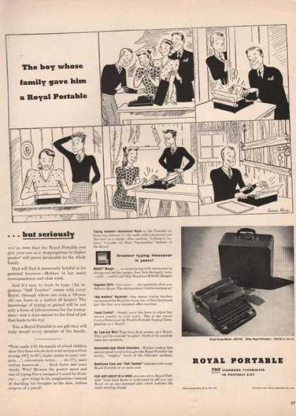 Royal Portable Typewriter Cartoon (1941)