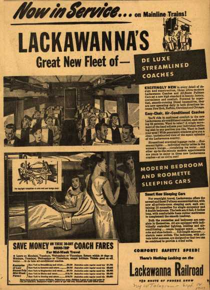 Lackawanna Railroad's various – Now in Service...on Mainline Trains! Lackawanna's Great New Fleet of-De Luxe Streamlined Coaches (1949)