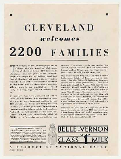 Belle-Vernon Milk Cleveland Addressograph (1931)