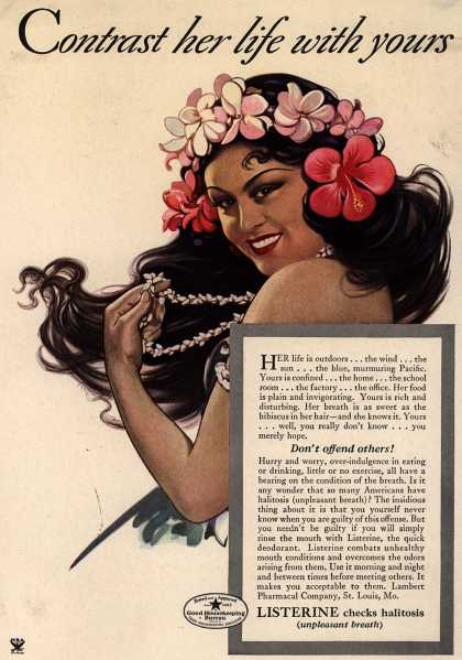 Lambert Pharmacal Company's Listerine – Contrast her life with yours (1934)