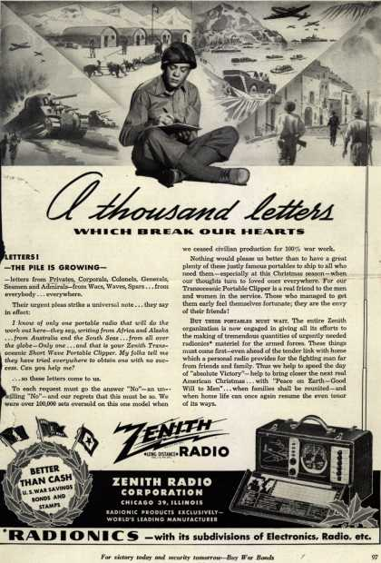 Zenith Radio Corporation's Transoceanic Portable Clipper – A thousand letters which break our hearts (1944)