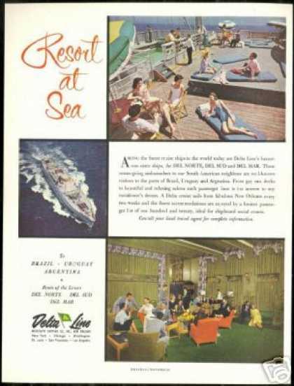 Delta Line Cruise Ship Deck Lounge Photo (1956)