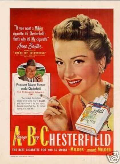 Chesterfield Cigarettes Ad Anne Baxter (1949)