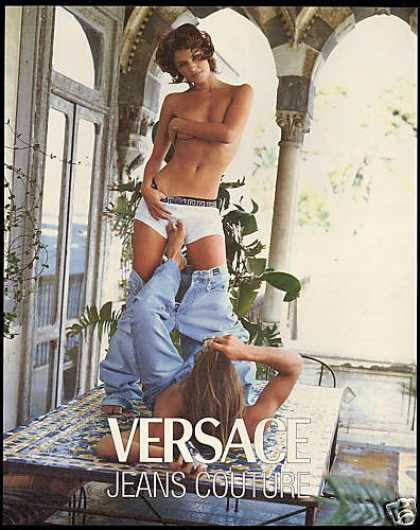 Topless Woman Versace Jeans Couture Fashion (1995)