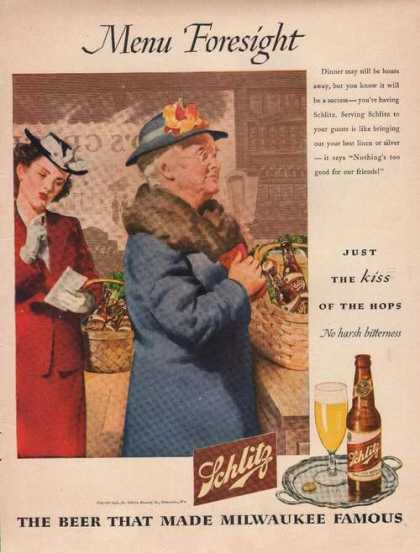 Menu Foresight Schlitz Beer (1944)