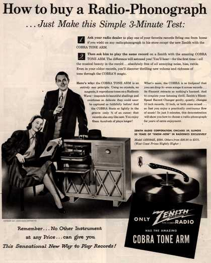 Zenith Radio Corporation's Radio-Phonograph – How to buy a Radio-Phonograph...Just Make this Simple 3-Minute Test (1947)