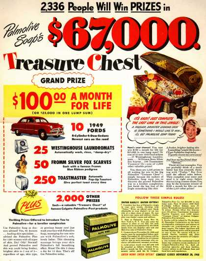 Palmolive Company's Palmolive Soap – 2,336 People Will Win Prizes in Palmolive Soap's $67,000 Treasure Chest (1948)