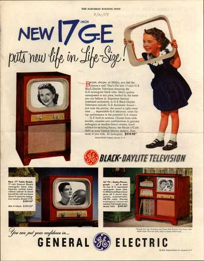 General Electric Company's Black-Daylight Television – New 17 inch G-E (1951)