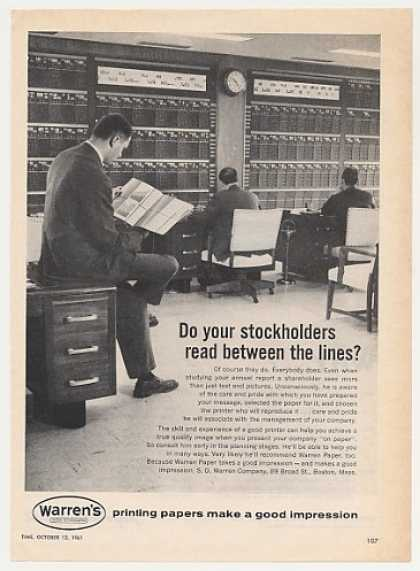 Stock Board Brokers Warren's Paper Photo (1961)