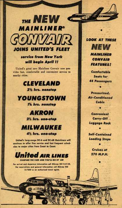 United Air Line's Mainliner Convair – The New Mainliner Convair Joins United's Fleet (1953)