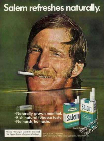 Salem Cigarettes Man Up To Chin In Water (1974)