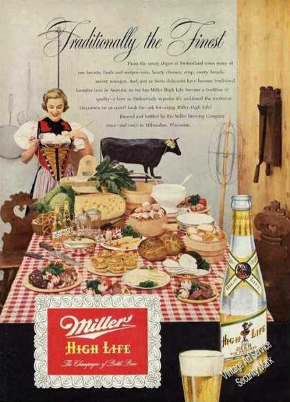 Miller High Life Beer Ad Traditionally the Finest (1951)