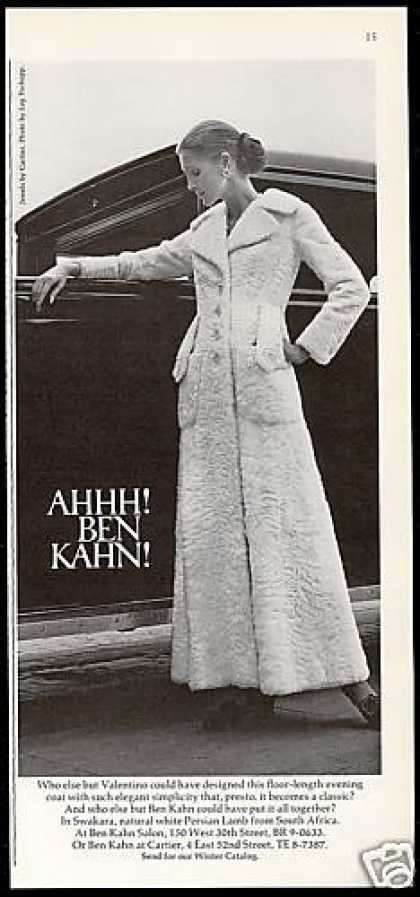 Ben Kahn Swakara White Persian Lamb Fur Coat (1971)
