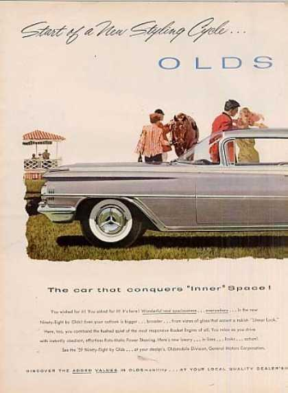 Oldsmobile 98 Holiday Scenicoupe Ad 2 Page (1959)