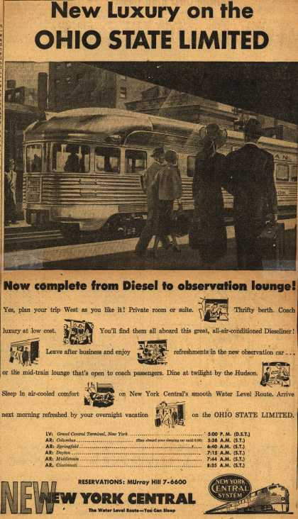 New York Central System's Ohio State Limited – New Luxury on the Ohio State Limited (1949)