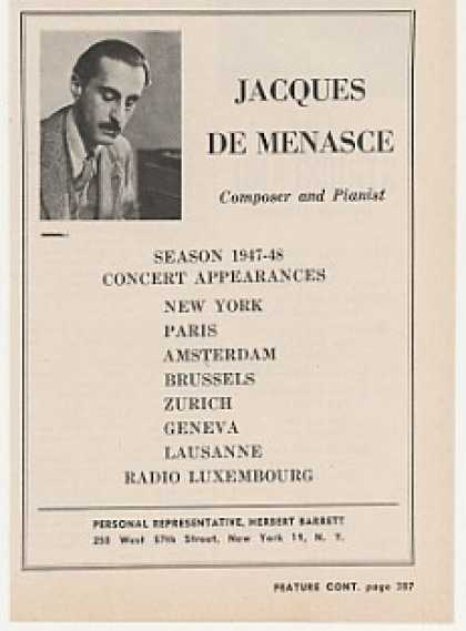 Composer Pianist Jacques De Menasce Photo (1948)