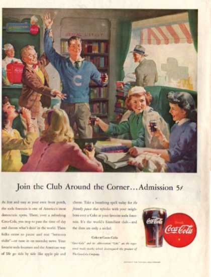 Coca Cola After School Club Soda Fountain Coke (1946)