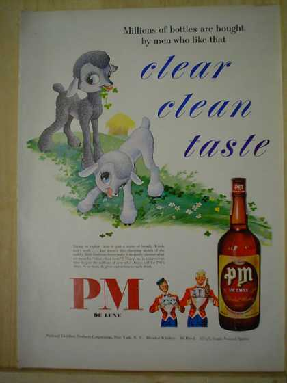 PM Deluxe Blended Whisky Clear Clean taste Sheep theme (1950)